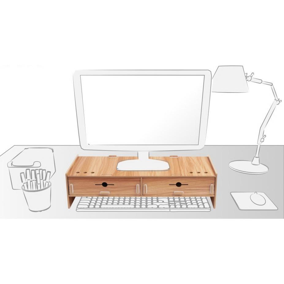 【TRENY直營】電腦螢幕增高架 (加厚雙抽-櫻桃木) 電腦螢幕收納架 螢幕架 鍵盤架 鍵盤收納 抽屜 D5088T-C