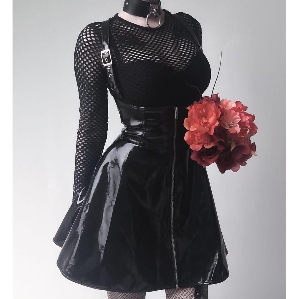 個性 歐美 潮牌 PU亮皮 高腰 吊帶裙