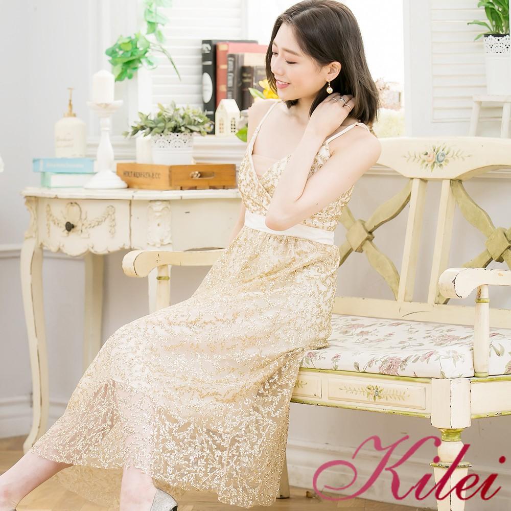 【Kilei】紗貼小小亮片V領有罩杯細肩帶長洋裝XA3366-01(閃耀金)小尺碼