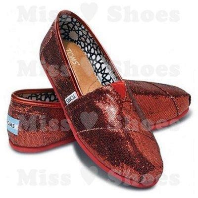 Miss ♥ Shoes - 正品美國品牌TOMS帆布鞋Glitters亮片款【RED紅】現+預 尾牙 婚鞋