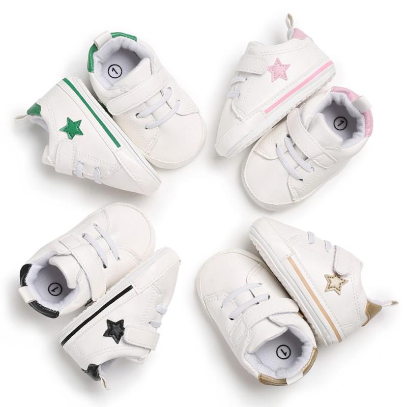 時尚經典寶寶五星小白鞋防滑軟底學步鞋【IU貝嬰屋】