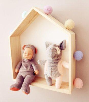 北歐的星星小房子壁掛置物架兒童房牆壁裝飾木質家居壁掛收納盒