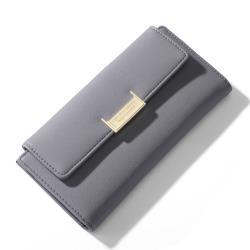 Acorn*橡果-韓系中性搭扣長夾手拿包手機包8914(灰色)