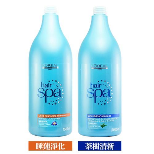 LOREAL萊雅 Hair SPA 睡蓮淨化 / 茶樹清新 洗髮精 1500ml 兩款可選 附壓頭 台灣萊雅公司貨