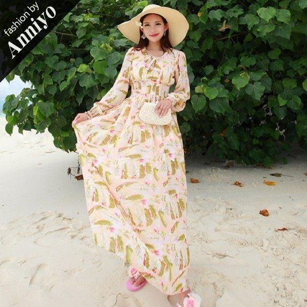 【Anniyo安妞】波希米亞長袖鬆緊腰顯瘦防曬碎花印花雪紡長裙沙灘裙海邊度假長洋裝