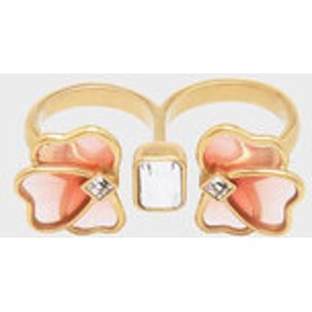 クリスタル&アクリル ペタルダブルリング / Crystal & Acrylic Petal Double Ring(Pink)
