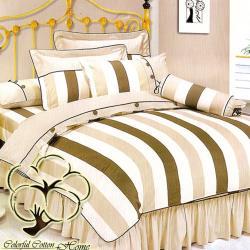 采棉居寢飾文化館 純棉條紋加大六件式床罩組