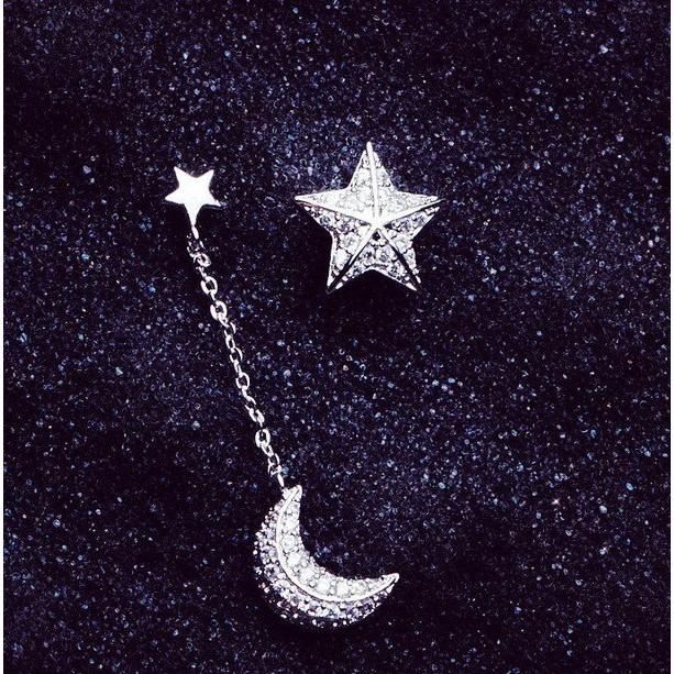 耳環 現貨 正韓名媛風氣質超美微鑲 星星 月亮 不對稱 滿鑽 銀針 耳環 K92168 Danica 韓系飾品 韓國連線
