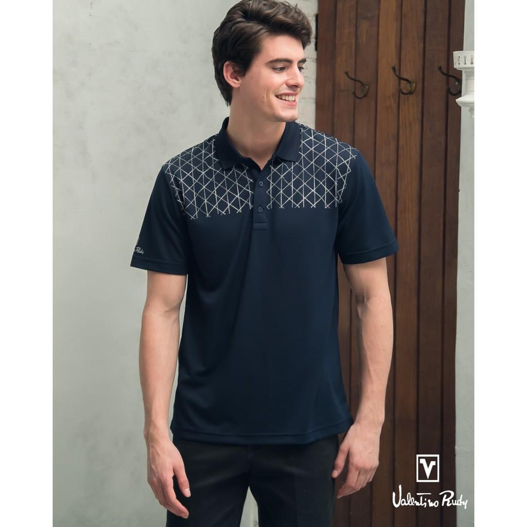 Valentino Rudy范倫鐵諾.路迪-吸濕透氣涼爽機能Polo衫-深藍網紋 V06A164-59