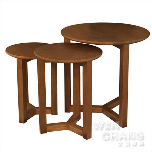 丹麥北歐風 白橡木 全實木 賓士 小茶几 邊几 Benz Coffee Table 三件套組 TTB012 文昌家具