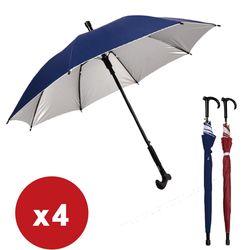 超值4入 手杖長柄 戶外登山防滑拐杖傘 晴雨傘-兩色任選
