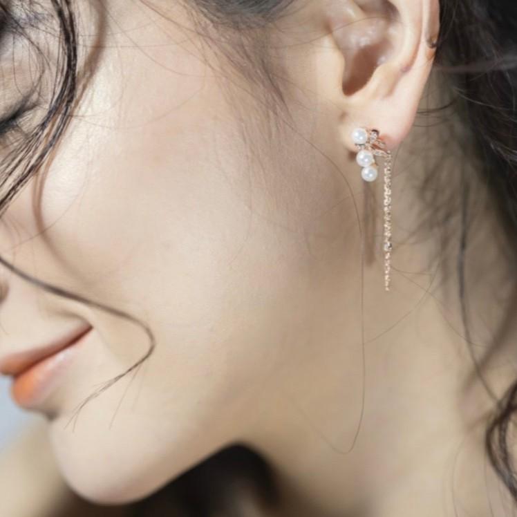 玫瑰金貝珠垂鏈耳環(耳針式) Firstsourse