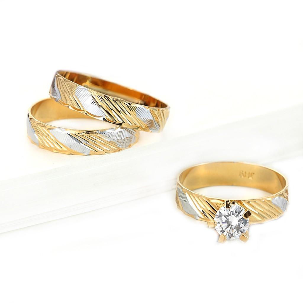 金戒指 7-11號 鍍金 金銀斜切面 防退色 艾豆『H3063』
