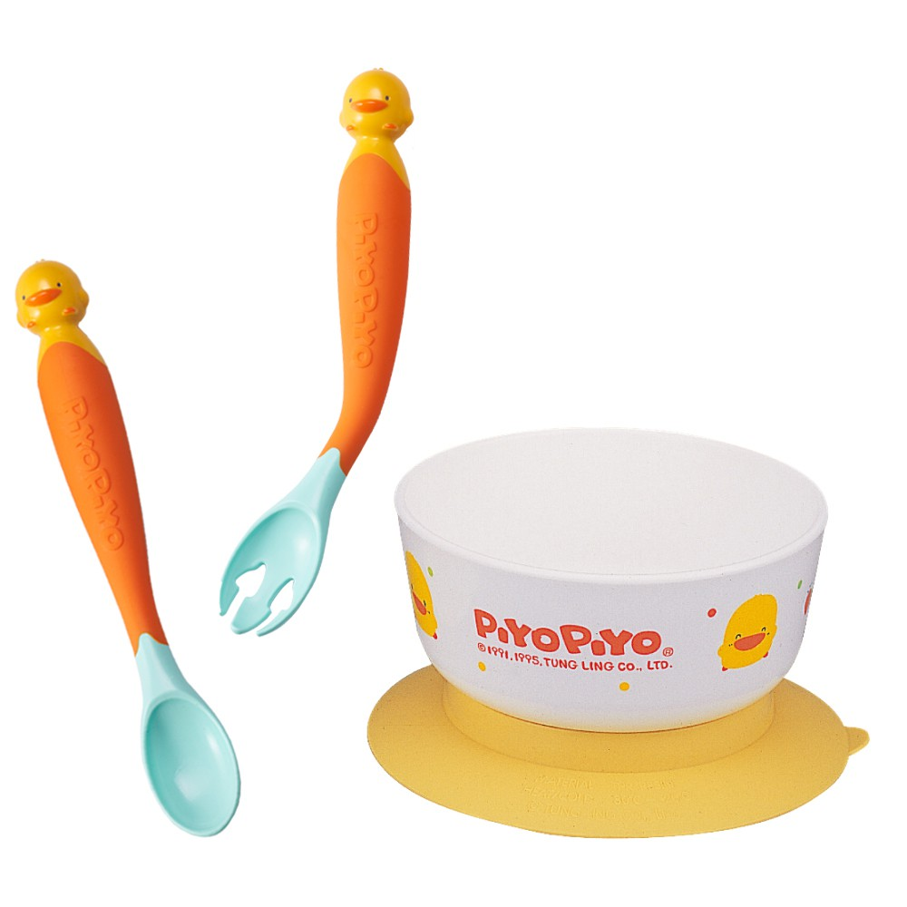 黃色小鴨 Piyo Piyo - 神奇感溫湯叉組(附保潔盒)+嬰幼兒學習碗(碗微波爐專用)(黃色小鴨官方直營)