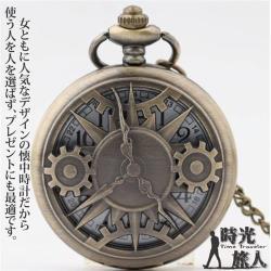 【時光旅人】神秘時光齒輪造型復古鏤空翻蓋懷錶/項鍊(長鍊設計)