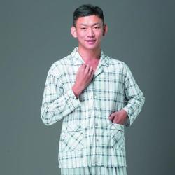 【皮爾卡登】國民領格狀涼絲棉男士長袖睡衣