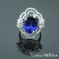 【Celosa珠寶】花蝶戀曲藍寶戒指