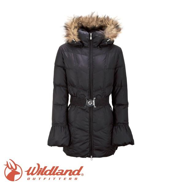 【出清特價Wildland 荒野 女 貉子毛 單件式羽絨衣 黑】 92107/羽絨衣