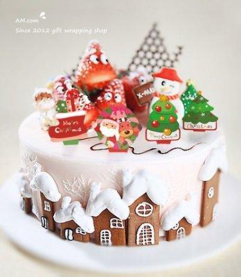 AM好時光【K49】聖誕派對 蛋糕裝飾插牌 10枚入❤薑餅屋 杯子馬芬蛋糕 慕斯杯 西點巧克力奶酪 生日蛋糕 禮物包裝盒