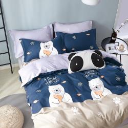 情定巴黎-北極寶貝 單人100%純棉精梳三件式全鋪棉兩用被厚包組-獨立筒適用