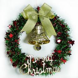 摩達客 紅綠金蔥聖誕星星花圈(14吋)