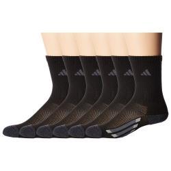 Adidas 2018學童時尚黑色中统色塊運動襪6入組