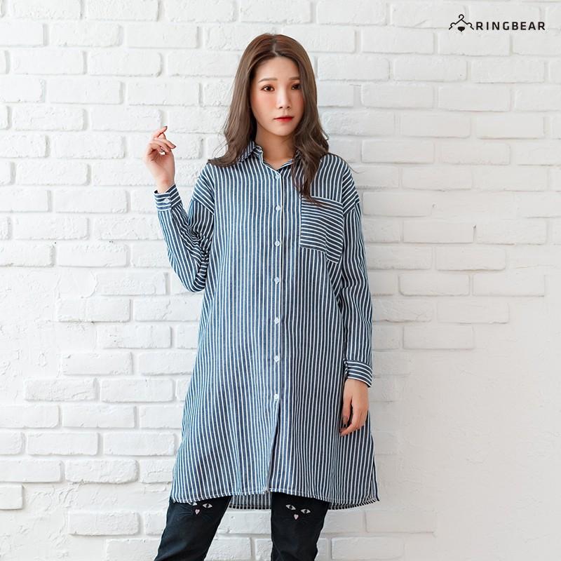 眼圈熊 中大尺碼 休閒撞色條紋排扣開衩寬鬆修身百搭棉麻長版襯衫(藍XL-3L)-I133