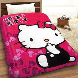 【享夢城堡】HELLO KITTY 快樂生活 法蘭絨毯被 (紅)