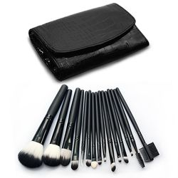 【幸福揚邑】專業彩妝抗菌刷毛木柄化妝刷具皮革化妝包15件組-黑色