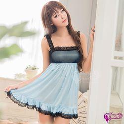 【Sexy Cynthia】性感睡衣 夢幻水藍柔緞蕾絲平口式甜美睡衣