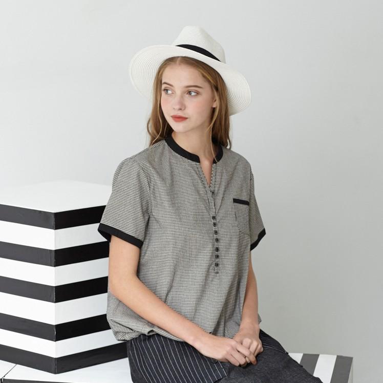BEGONIA品牌 春夏格紋裝飾排扣V字棉質上衣 NO-BG81101