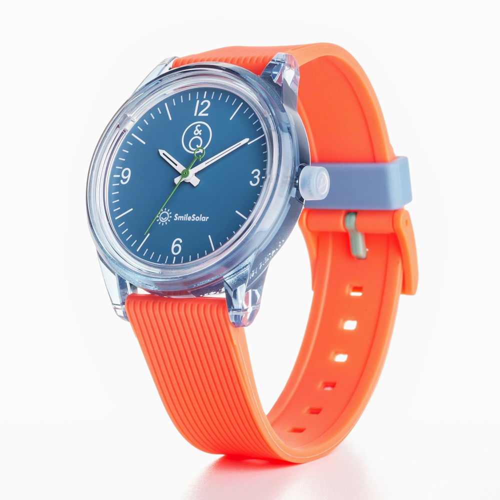 Q&Q SmileSolar 太陽能手錶 春夏玩色系列-009 橙橘捏/40mm (RP10J009Y)
