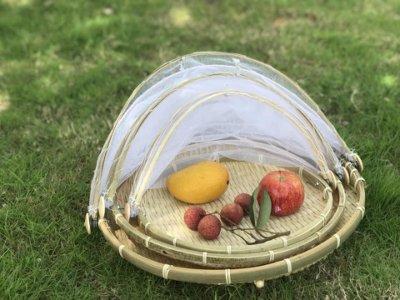 香河竹藝行***圓形傳統菜罩日曬竹盤防蒼蠅蚊蟲污染中尺寸
