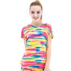 【聖伯納 St.Bonalt】女款連帽速乾T恤 (28065)- 灰色/彩條格紋