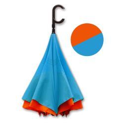 好雅也欣-雙層傘布散熱專利反向傘-C把系列-橘面藍底