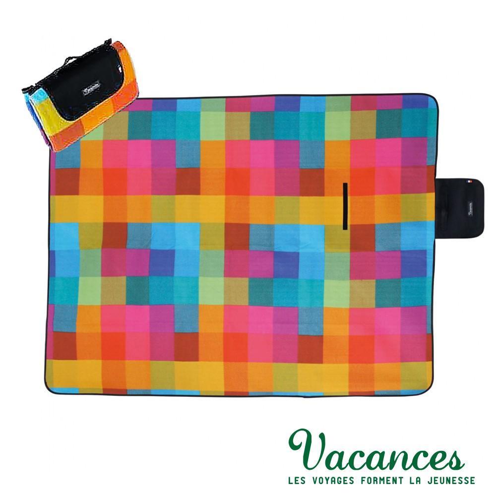 【VACANCES】戶外郊遊 彩色方塊 提袋式摺疊 超防水 野餐 沙灘墊