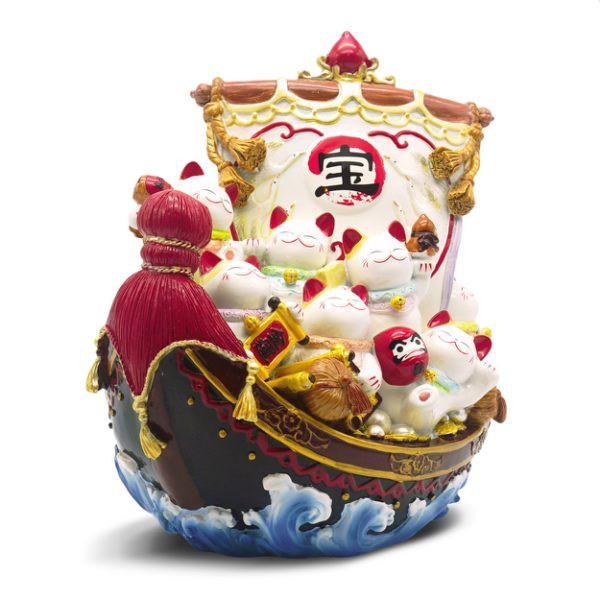 【金石工坊】 七福招財貓寶船(高25CM)日本料理店 風水開運擺飾 一帆風順 開店送禮 開業禮品