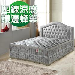 A+愛家-正四線-超涼感-抗菌護邊蜂巢獨立筒床墊-雙人加大6尺-涼感紗透氣