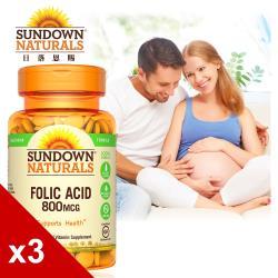 【美國Sundown日落恩賜】高單位葉酸800mcg錠x3瓶組(100錠/瓶)