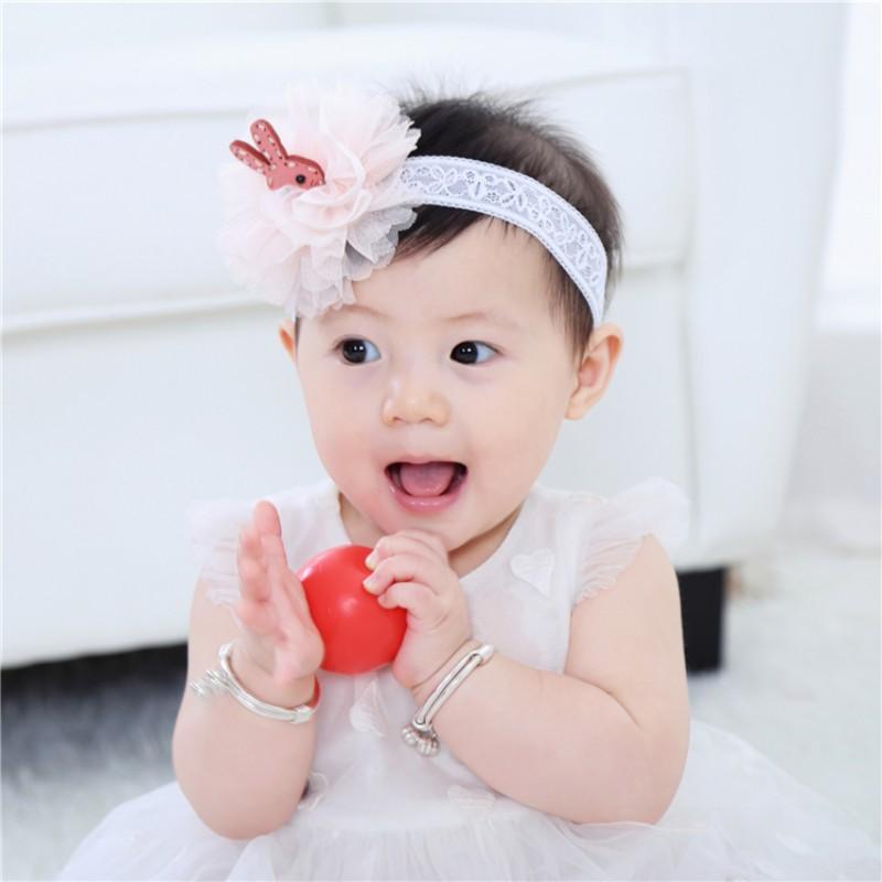 可愛嬰兒花頭帶花邊兔頭髮穿髮帶織帶攝影【IU貝嬰屋】