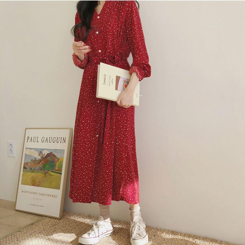 26729 早春新款 韓系氣質長袖波點洋裝長款紅裙