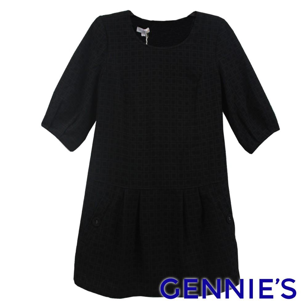 氣質緹花格紋秋冬長版上衣(黑G3453)Gennies奇妮