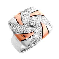 【Jewelrywood】純銀微鑲晶鑽風車雙色戒指(玫瑰金)