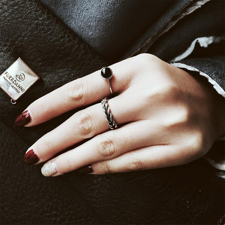 復古做舊麻花戒 瑪瑙珍珠戒指 2件套 韓版簡約戒指Q43
