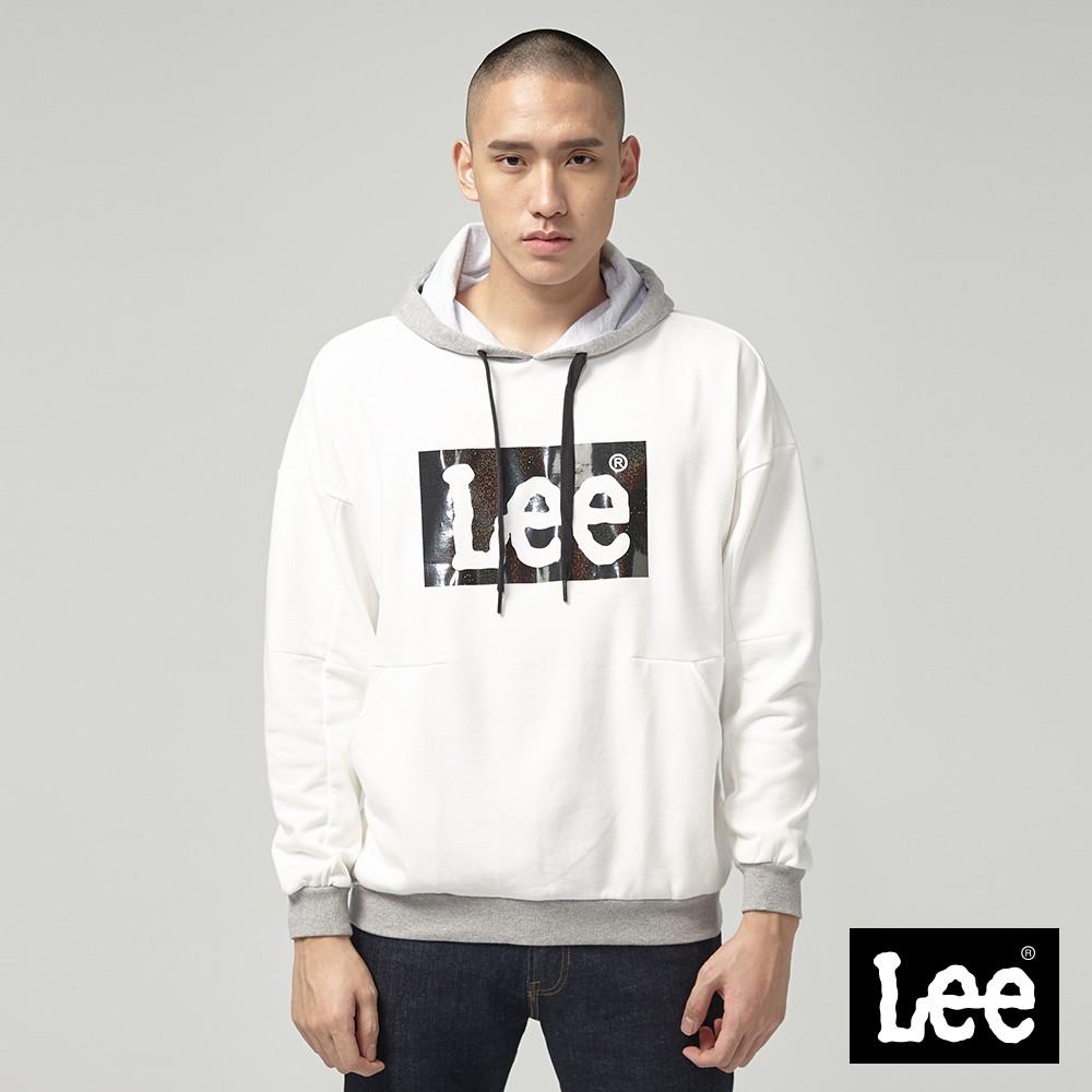 Lee 鏤空亮片LOGO長袖連帽T恤 男 牙白 Mainline