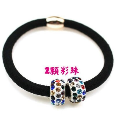 韓版水鑽珠子 髮圈髮束髮繩髮飾 (2顆彩珠)-艾發現