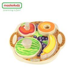 【英國Masterkidz】木釘手握木塊拼圖-水果