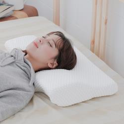 米夢家居-蝶型護頸秒變仰睡側睡-止鼾灌模記憶中低枕(密度55)(2入)