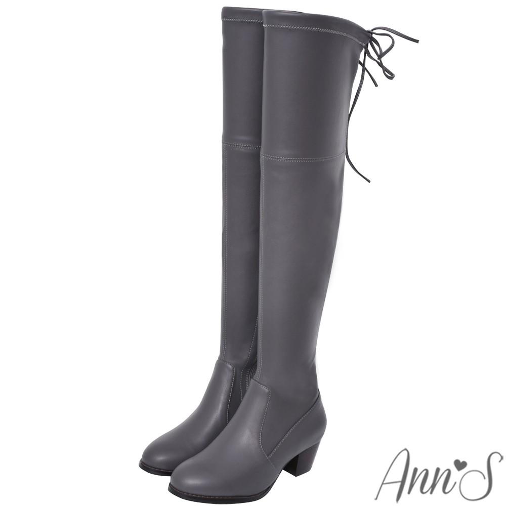 Ann'S貼腿版-後蝴蝶結彈力側拉鍊過膝靴-羊紋灰