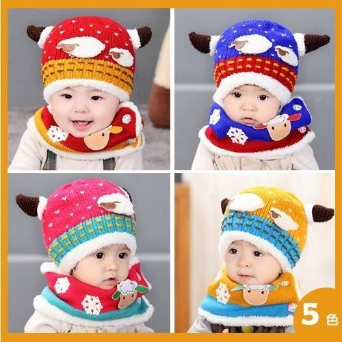 卡通羊角 綿羊兒童 寶寶加絨保暖針織帽套件 加厚 【2Z993Y642】